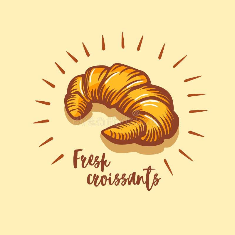 Croissant ikona Piekarnia sklepowy emblemat, odznaka i logo, Rocznika projekt ilustracja wektor