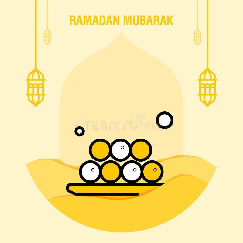 Croissant islamique de salutation de calibre de kareem de Ramadan et illustration arabe de vecteur de lanterne illustration libre de droits