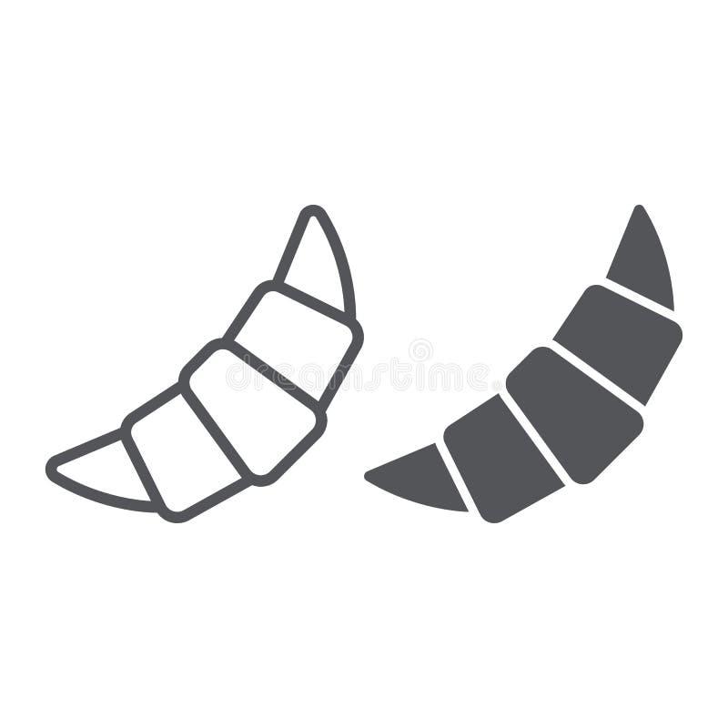 Croissant linia, glif ikona, ciasto i jedzenie, babeczka znak, wektorowe grafika, liniowy wzór na białym tle royalty ilustracja