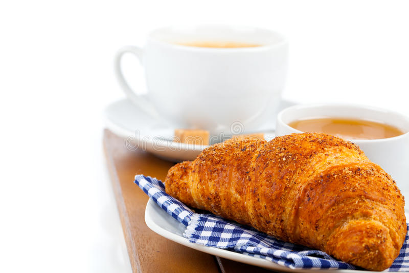 Croissant. With marmalade and caffee cup stock photo