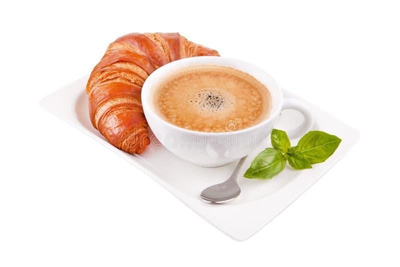 Croissant met koffie stock fotografie