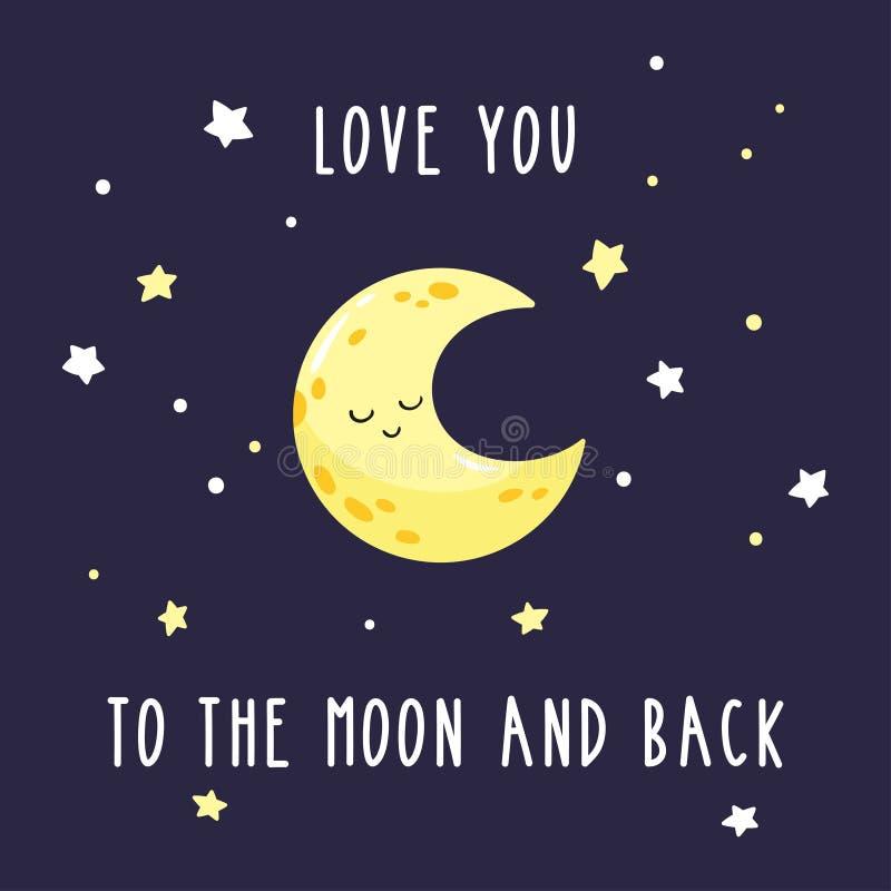 Croissant mignon de bande dessinée dans le ciel étoilé Amour d'inscription vous à la lune et au dos illustration libre de droits