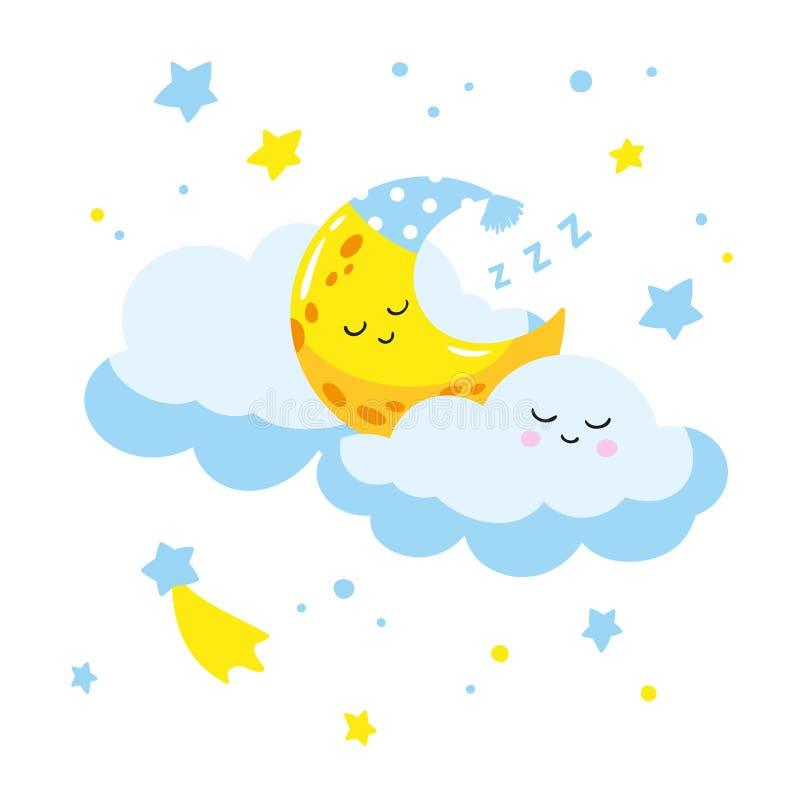 Croissant mignon de bande dessinée dormant sur un nuage illustration stock