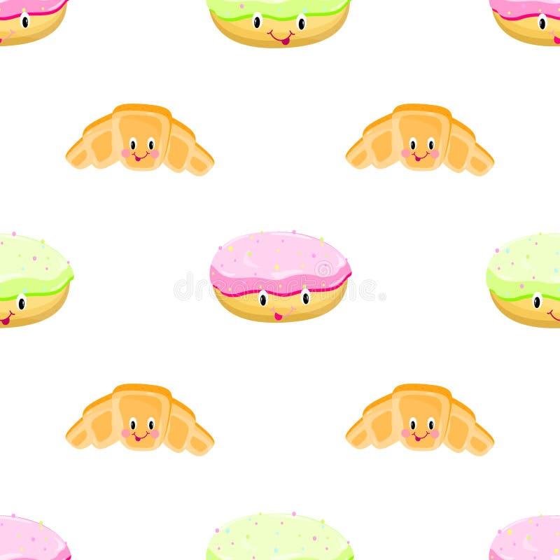 Croissant pączka bezszwowy deseniowy wektor ilustracji