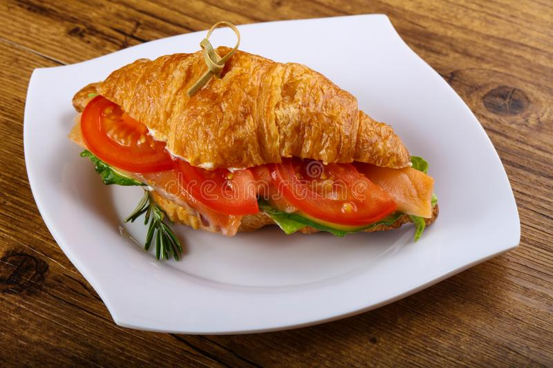 Croissant with salmon. Served rosemary on wood background stock image