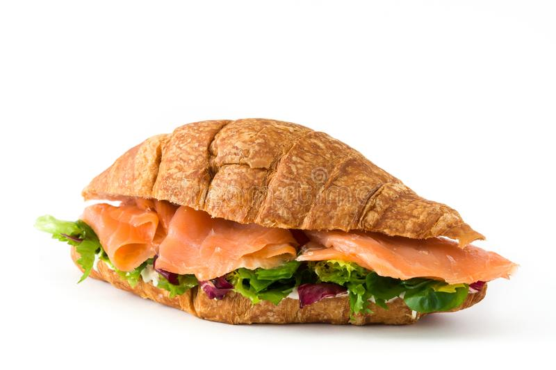 Croissant sandwich with salmon and vegetables isolated royalty free stock photography