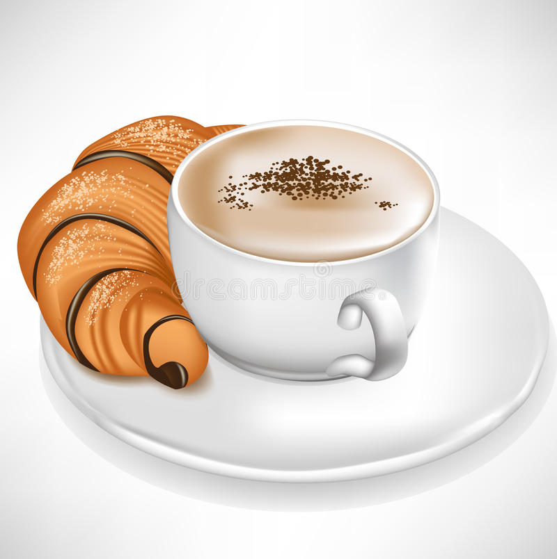 Croissant servi avec la cuvette de café illustration libre de droits