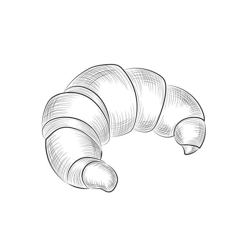 Croissant sketch. Hand drawn baking. Digital art. Vector illustration. Black drawing isolated on white background. Sweet dessrt do stock illustration