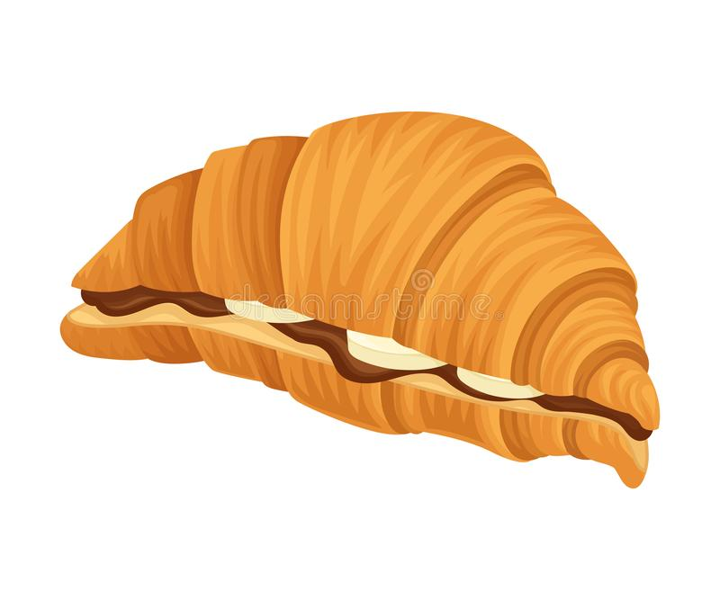 Croissant Stuffed with Chocolate Paste and Sliced Banana Vector Illustration vector illustration