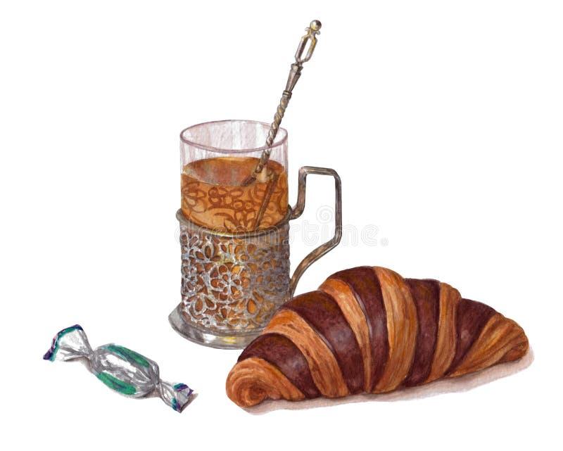 Croissant, suikergoed in suikergoedomslagen, mooie oude glashouder met een met de hand getrokken glas thee, vector illustratie