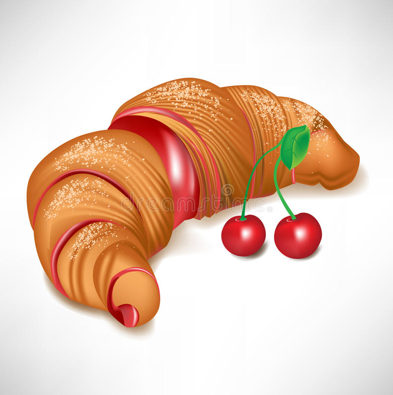 Free Croissant With Cherry Cream Filling Stock Photo - 22096380