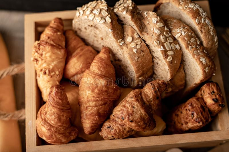 croissant on the wooden table stock images