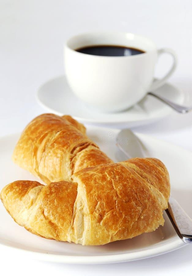 Croissanten en koffie royalty-vrije stock afbeelding