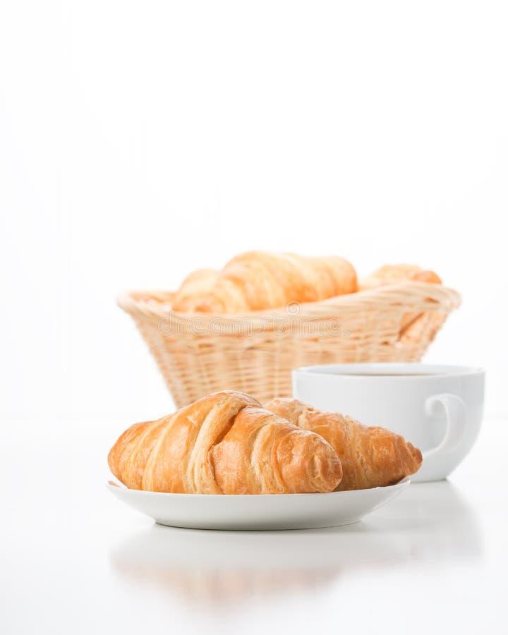 Croissanten en Koffie royalty-vrije stock foto's