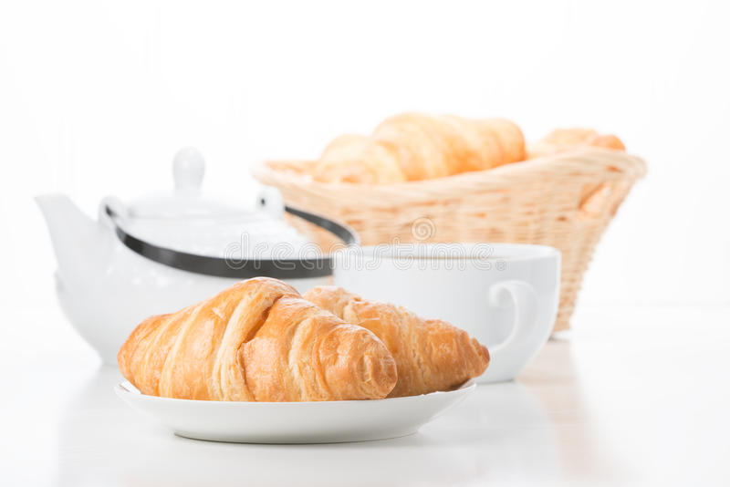 Croissantontbijt royalty-vrije stock fotografie