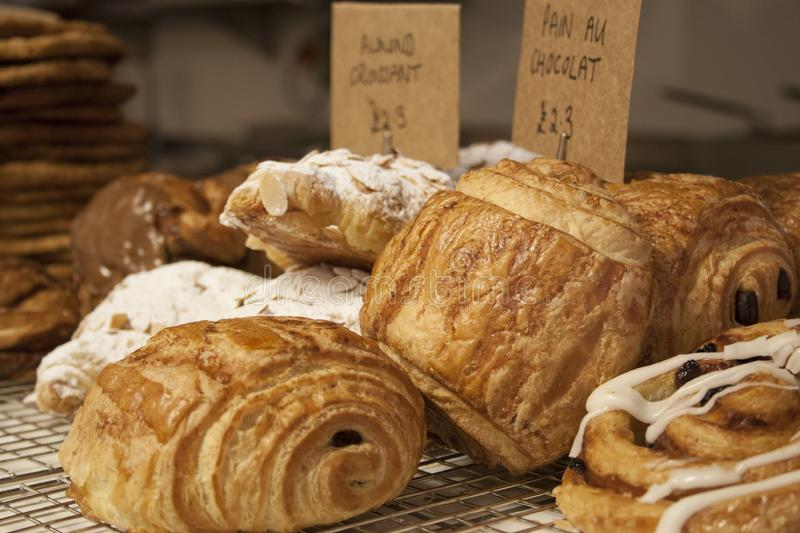 Croissants in bakery royalty free stock photos