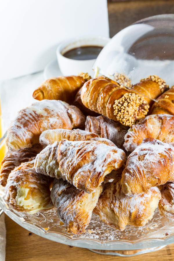 Croissants en cannoli royalty-vrije stock fotografie
