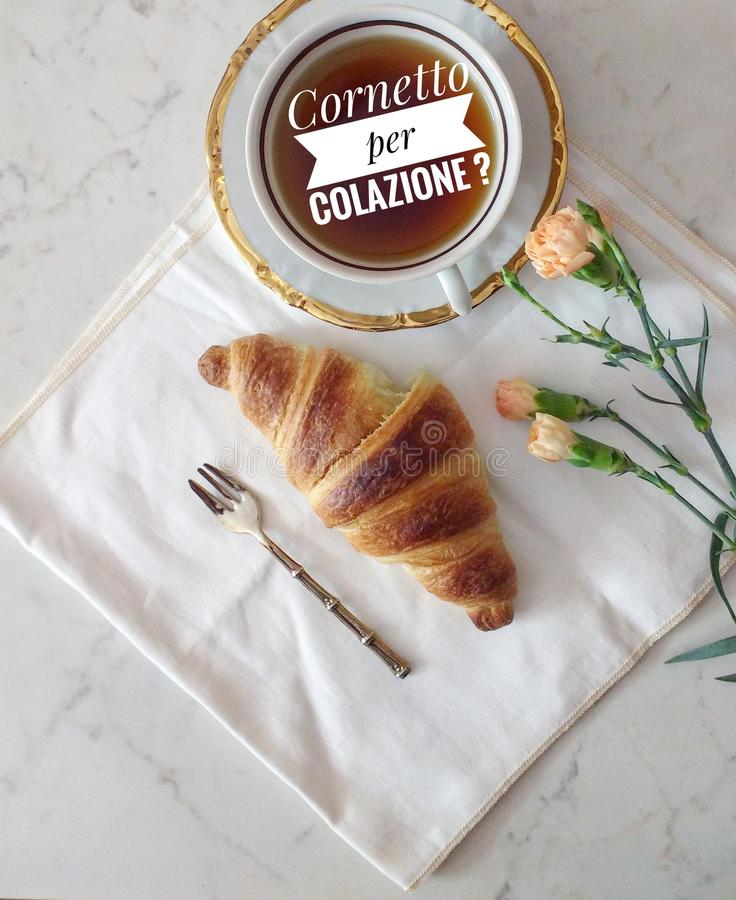 Croissants and flowers stock images