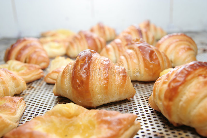 Croissants, fresh from oven stock images