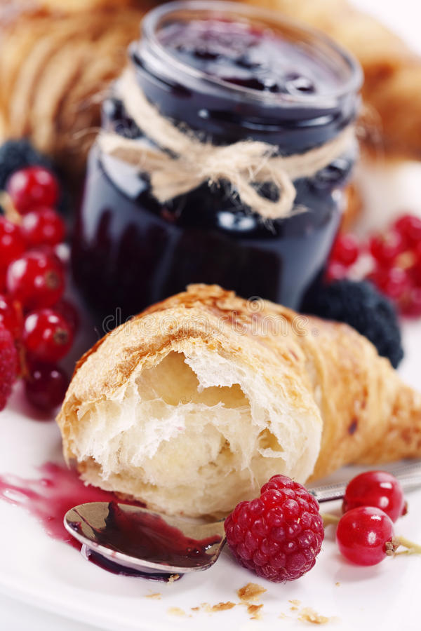 Croissants with jam stock photos