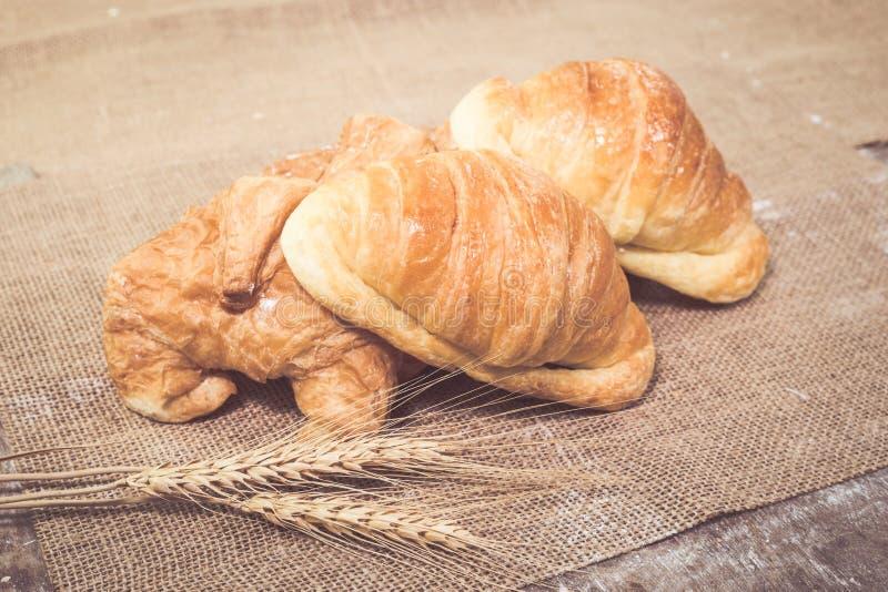 Croissants recientemente cocidos al horno imagenes de archivo