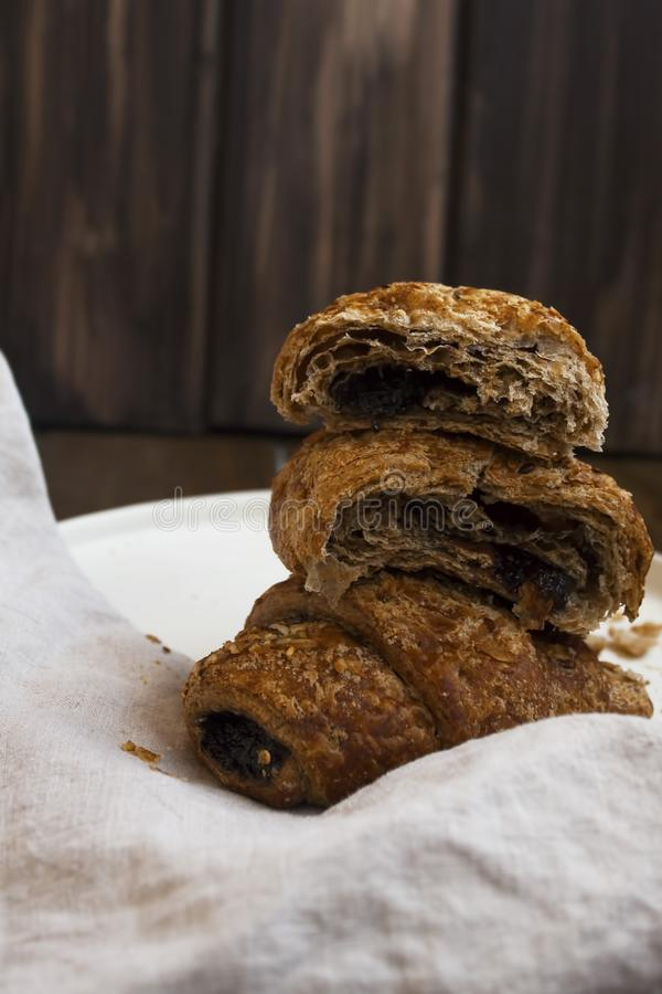 Croissants with seeds and jam royalty free stock photography