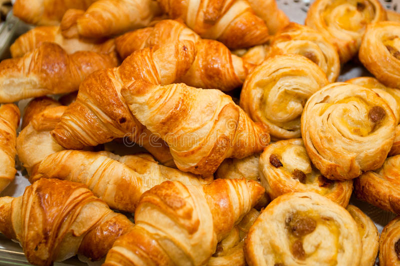 Croissants. Tasty croissants detail of a bakery stand royalty free stock images