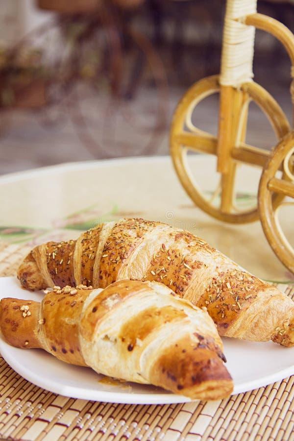 Croissantsclose-up stock afbeelding