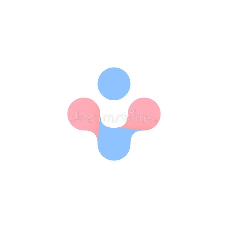 Croix abstraite bleue et rose Symbole de vecteur de santé de femme et d'homme Grossesse, logo d'accouchement D'isolement plus l'i illustration de vecteur