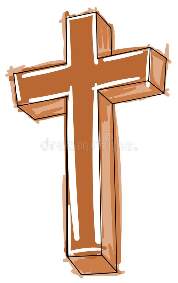 Croix artistique colorée stylisée d'isolement illustration de vecteur