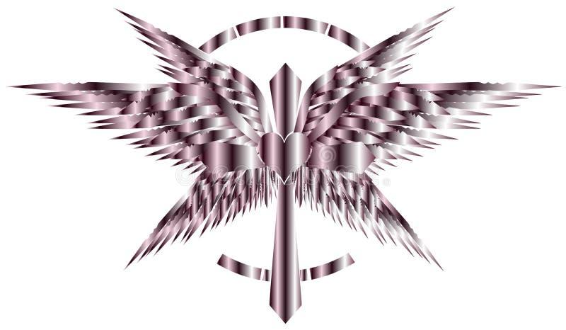 Croix artistique stylisée avec les ailes et le coeur d'isolement illustration libre de droits