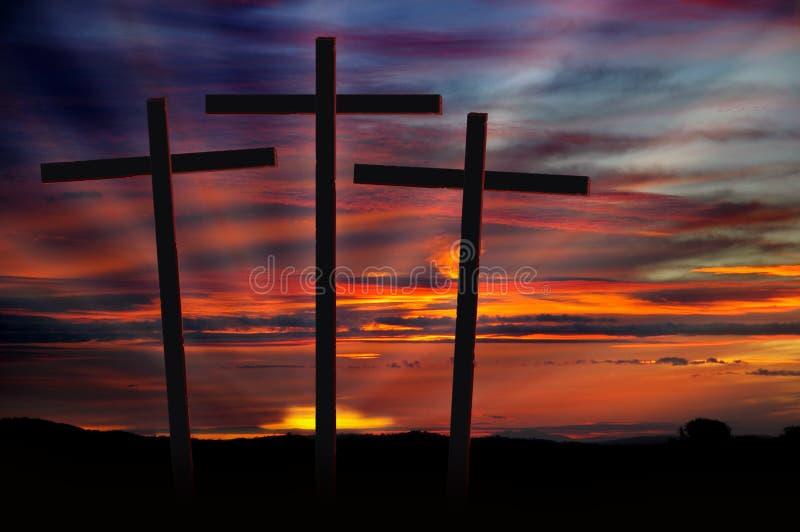 Croix au coucher du soleil photo stock