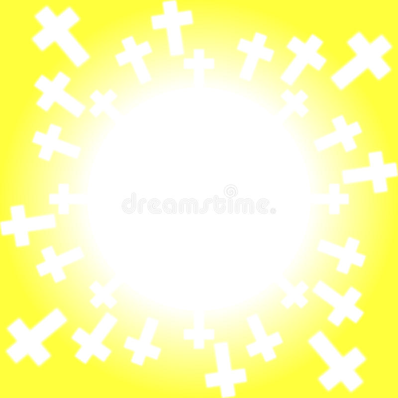 Croix autour de cadre du soleil illustration stock