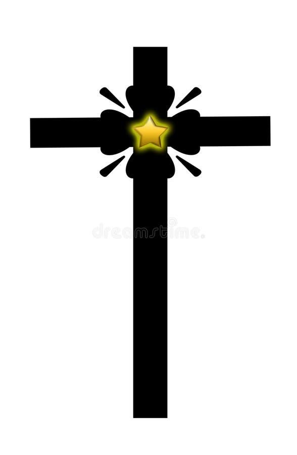 Croix avec l'étoile d'or illustration de vecteur