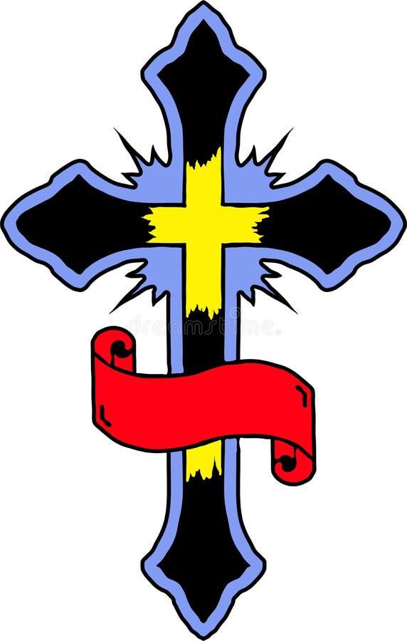 Croix avec la plaque illustration de vecteur