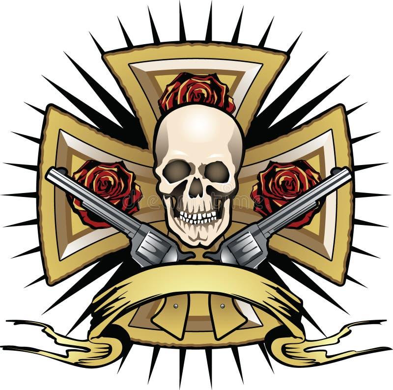 Croix avec le crâne et les psitols illustration stock