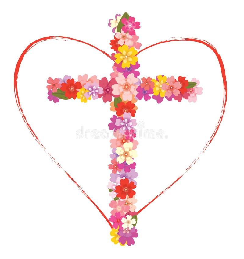 Croix avec les fleurs et le coeur illustration de vecteur