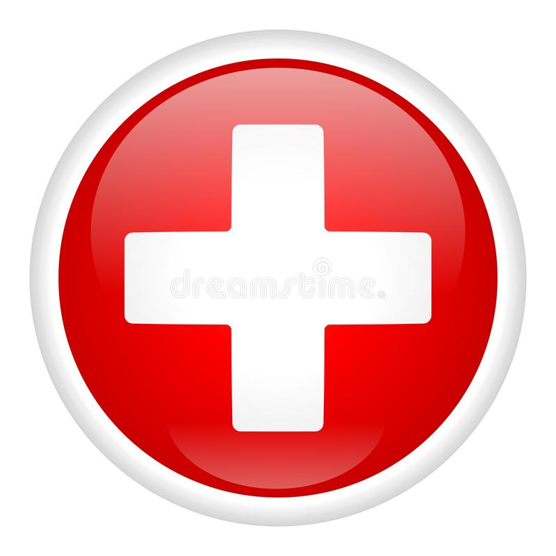 Croix blanche sur le bouton illustration stock
