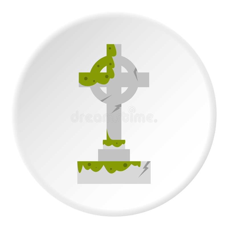 Croix celtique irlandaise avec le cercle vert d'icône de boue illustration libre de droits