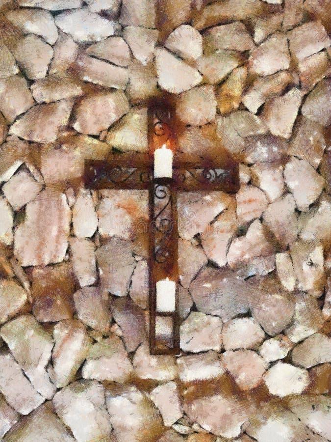 Croix chrétienne avec des bougies aux pastels illustration libre de droits