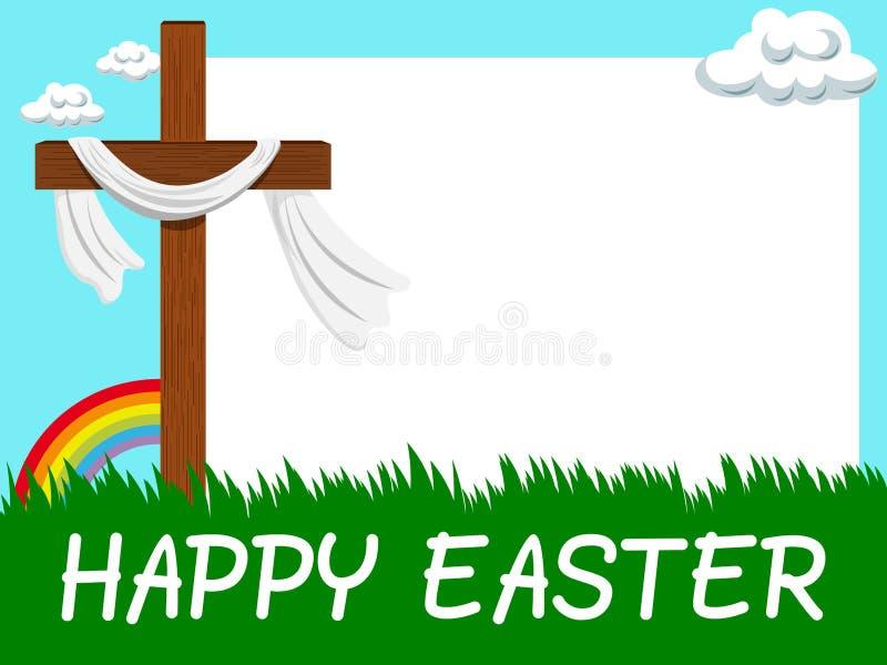 Croix chrétienne de cadre vide horizontal heureux de Pâques dans le pré illustration stock