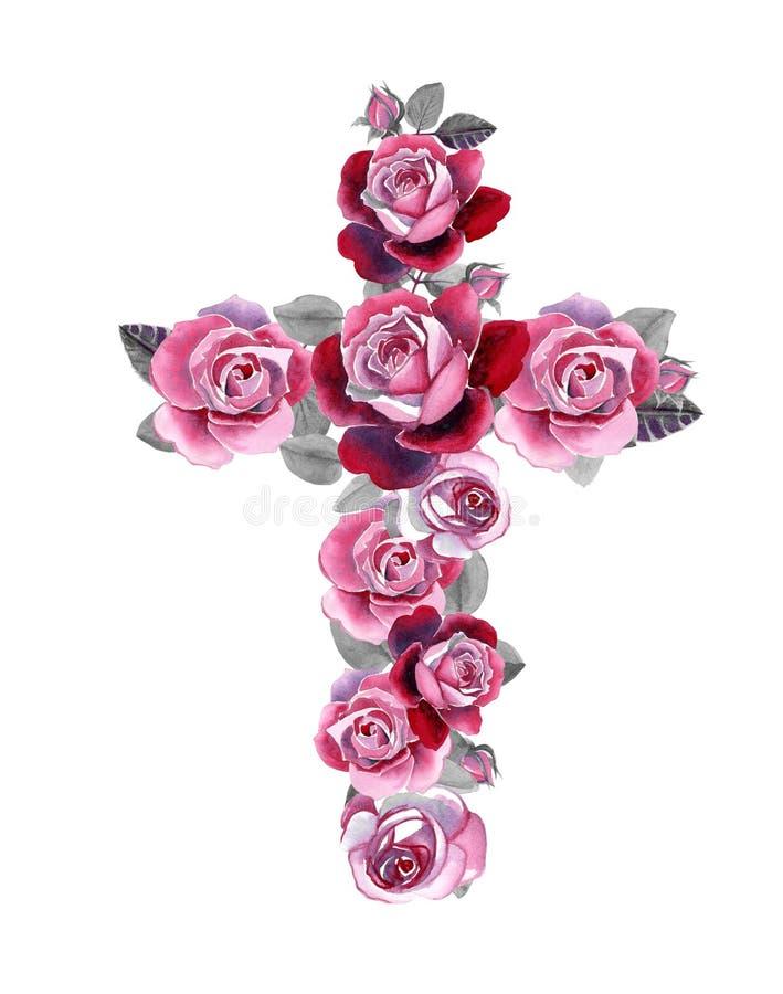 Croix chrétienne faite de roses d'aquarelle illustration libre de droits