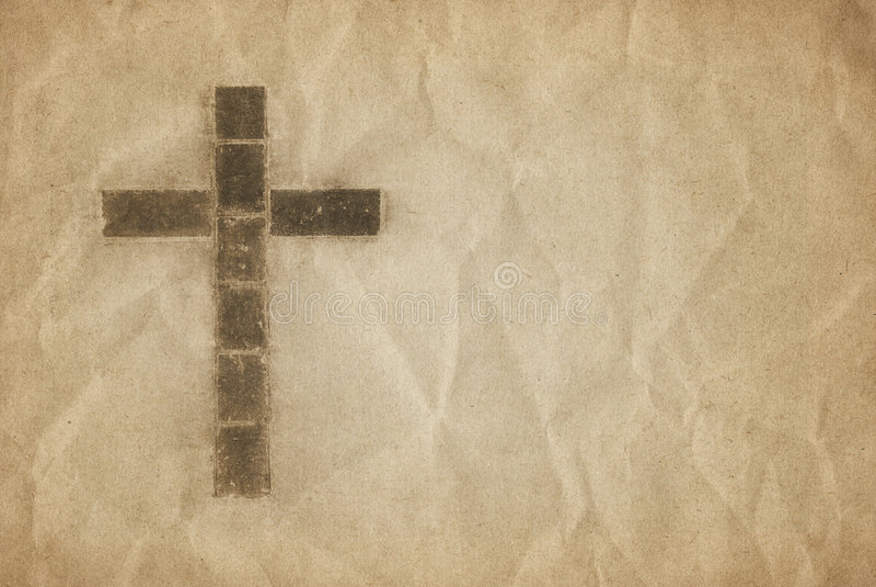 Croix chrétienne sur le parchemin illustration de vecteur