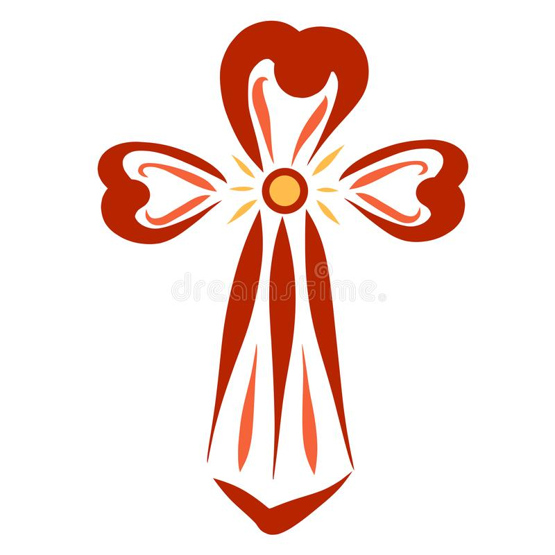 Croix chrétienne, symbole de victoire, arme contre le péché, lumière et amour illustration stock