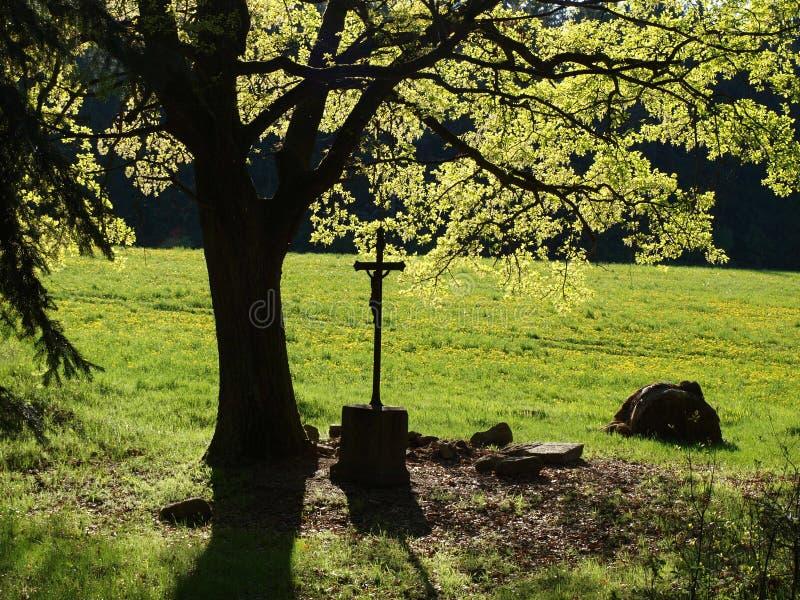 Croix commémorative historique sous la limette image stock