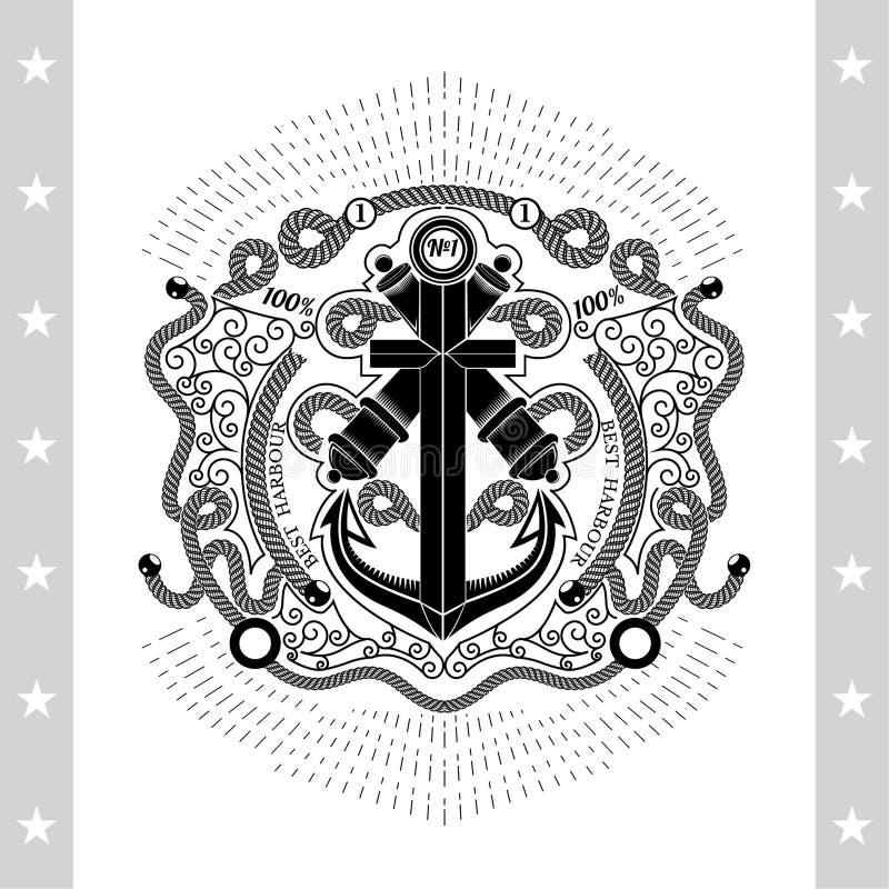 Croix d'ancre avec deux canons au centre du cadre de la ligne modèle et corde illustration stock