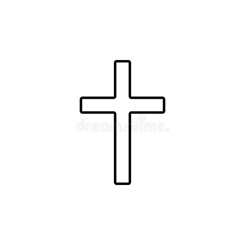 croix d'icône chrétienne Élément d'icône simple pour des sites Web, web design, APP mobile, graphiques d'infos Ligne mince icône  illustration de vecteur
