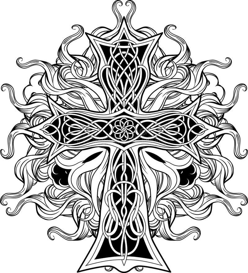 Croix dans de style celtique avec des rubans du feu illustration stock