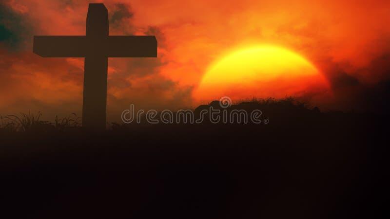 Croix dans le coucher du soleil illustration de vecteur