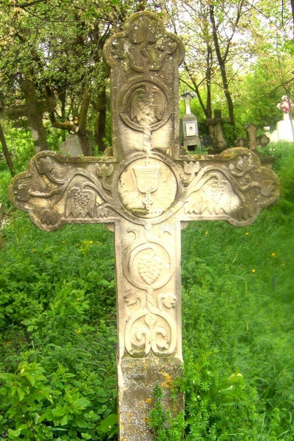 Croix dans le monastère d'Arbore, Moldavie, Roumanie images libres de droits